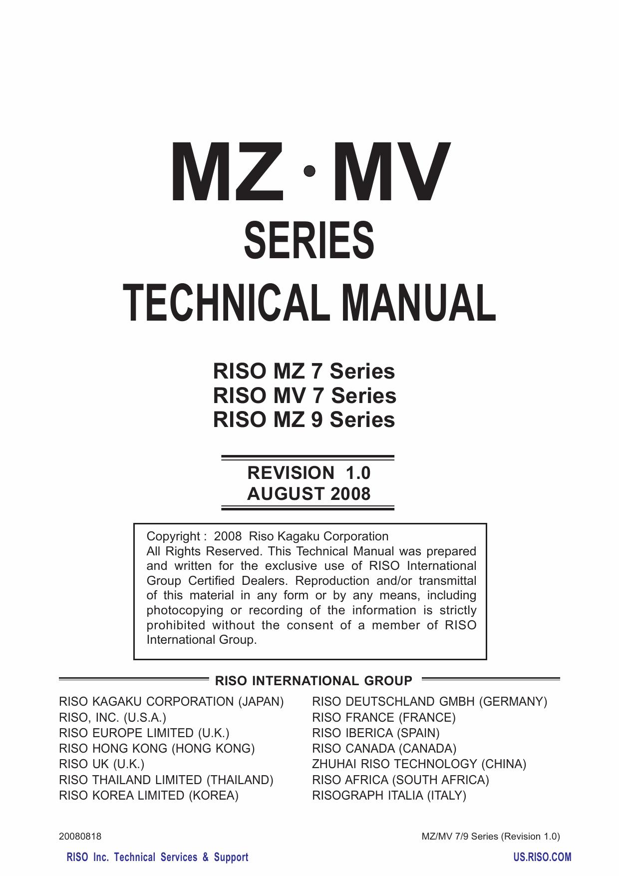 Riso Mz 770 790 970 990 Mv